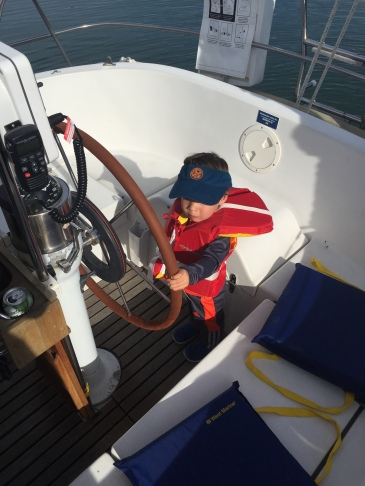 Niran practicing for his turn at the helm.